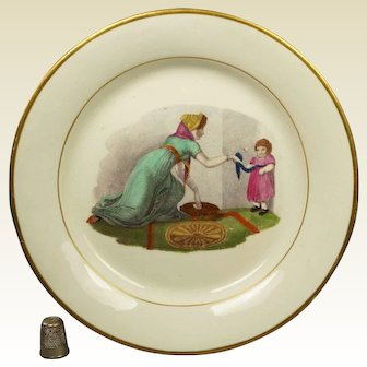 Antique Regency Plate, New Hall Porcelain Pattern 224 Polychrome Adam Buck Mother And Child Playing Georgian Circa 1815 AF