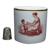 19th Century Georgian Porcelain Coffee Can Cup New Hall, Adam Buck Sepia Mother Child Circa 1815 Regency