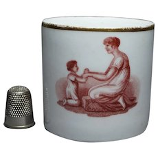 19th Century Georgian Porcelain Coffee Can Cup New Hall, Adam Buck Sepia Mother Child Circa 1815 Regency