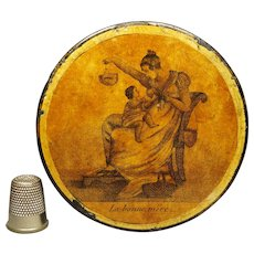 Antique Regency French Snuff Box The Good Mother, Papier Mache, after Adam Buck Circa 1815