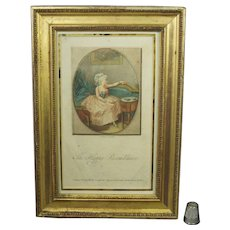 Antique 18th Century Colored Stipple Engraving Print Of A Lady In Georgian Blue Silk Shoes Dated 1786, The Happy Resemblance