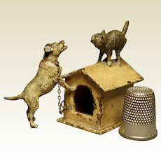 Good Miniature 19th Century Cold Painted Vienna Bronze Figure Cat Kitten And Jack Russell Terrier Dog Kennel Circa 1900