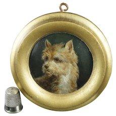 19th Century Miniature Dog Portrait Porcelain Plaque Hand Painted Cairn Terrier, KPM Style Circa 1860
