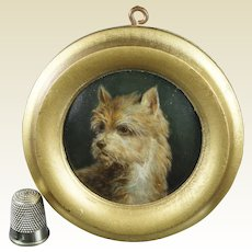19th Century Miniature Dog Portrait Porcelain Plaque Hand Painted Cairn Terrier, KPM Style Circa 1860