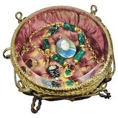 Rare Shape Large French Glass Casket Vitrine, Birds Nest Design, Jewelry Box Casket Circa 1870
