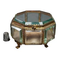 Antique French Glass Octagonal Casket, 1800s Glass Display Case, Pocket Watch or Jewelry Vitrine. Wedding Ring Display 1870