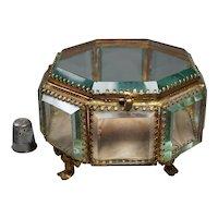Rare Large Octagonal French Glass Casket Vitrine Jewelry Box Casket Circa 1870