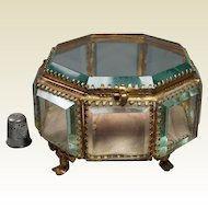 Rare Large Octagonal French Glass Casket Vitrine Jewelry Box Casket Circa 1870