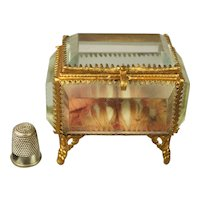 Antique French Glass Casket, Display Case, Pocket Watch or Jewelry Vitrine. Romantic Pink Silk Wedding Ring Display 1870
