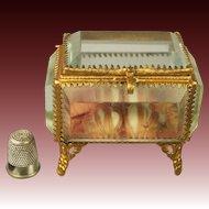 19th Century Miniature French Jewelry Casket Vitrine Bevelled Glass Pink Padded Silk 1870