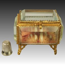 19th Century Miniature French Jewelry Casket Vitrine Bevelled Glass Pink Padded Silk 1870