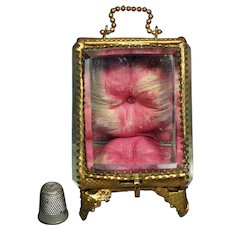 Antique French Glass Casket, 1800s Glass Display Case, Pocket Watch or Jewelry Vitrine. Romantic Pink Silk Wedding Ring Display 1870