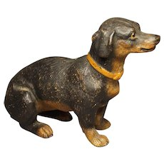 19th Century Miniature Austrian Terracotta Dog Dachshund Terrier Figure Circa 1880