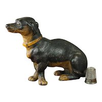 19th Century Miniature Austrian Terracotta Dog Dachshund Terrier Figure Circa 1880 AF