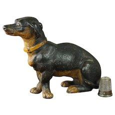 19th Century Miniature Austrian Terracotta Dog Dachshund Terrier Figure Circa 1880 AF