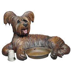 19th Century Black Forest Dog Pin Tray Skye Terrier Circa 1890 Victorian