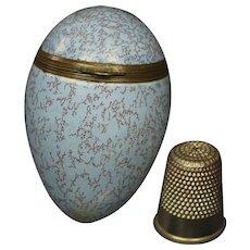 Antique 18th Century Bilston Blue Enamel Egg Bonbonniere English Circa 1780 Restored