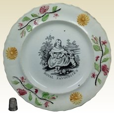 19th Century Staffordshire Childs Plate The Royal Favourite Dog Puppy Queen Victoria Transferware Circa 1840