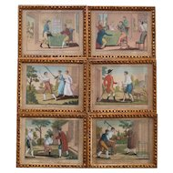 19th Century The Prodigal Son French Miniature Engraving Complete Set of Six Prints Hand Colored, Georgian Circa 1800