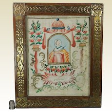 18th Century French Religious Illuminated Watercolor Painting on Paper Saint Ursula Circa 1780