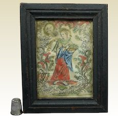 Miniature 17th Century Religious Engraving on Vellum Saint Dorothea, Circa 1690