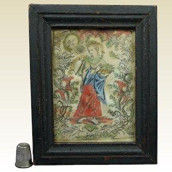 Miniature 17th Century Religious Engraving on Vellum Saint Dorothea, Circa 1690