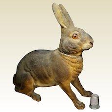 Stunning 19th Century Papier Mache Rabbit Candy Container Box German Circa 1890