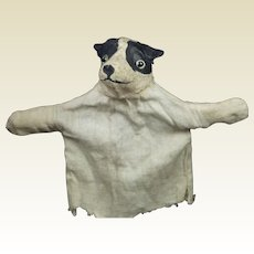 Antique Toy Papier Mache Dog Hand Puppet 1918