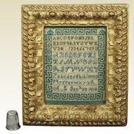 Antique Georgian Miniature Sampler Dated 1818 Greek Key Rare Green and Blue Stitching AF