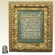 Antique Georgian Miniature Sampler Dated 1818 Greek Key Rare Green and Blue Stitching AF