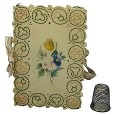 Antique English Georgian Needle Case Hand Painted Floral Watercolor Cover Punched Embroidered Rose Thistle Shamrock