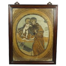 Rare 18th Century Laid Silk Adhesive Embroidery Needlework St Anthony of Padua Circa 1760