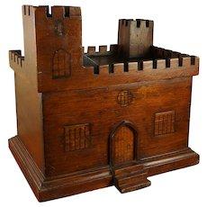 Antique 19th Century Folk Art Model Castle, Treen Money Bank Box, English Circa 1870
