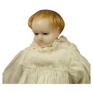 Antique English Pierotti Poured Wax Baby Doll Rare Sleeping Eyes, Circa 1860, Original Christening Clothing AF