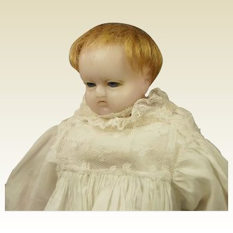 Antique English Pierotti Poured Wax Baby Doll Rare Sleeping Eyes, Circa 1860, Original Christening Clothing AF