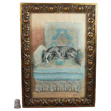 Antique French Bulldog Terrier Painting Adorable Frenchie Circa 1910