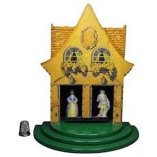 English Chad Valley Wooden Toy Weather House Advertising Kendall Umbrella Circa 1927 French Style