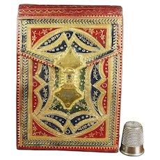 Antique 18th Century, Georgian Huswif, Sewing Companion Needlecase Etui, Tooled Red Morocco Leather Gilt Clasp Circa 1790 Federal Era
