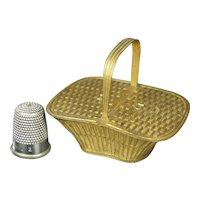 Rare Avery Needlecase Picnic Basket Circa 1875 with Registration Mark, Fashion Doll Size
