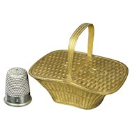 Rare Avery Needlecase 'Picnic Basket' Circa 1875 with Registration Mark, Fashion Doll Size