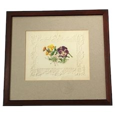 Antique English Floral Watercolor on Embossed Paper, C 1850s Botanical Gift For A Gardener