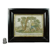 Rare Miniature Georgian Silkwork Hairwork Needlework Embroidery Classical Italian Scene Grand Tour Circa 1790