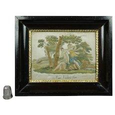 Rare Miniature Georgian Silkwork Hairwork Needlework Embroidery Classical Italian Scene Grand Tour Circa 1790
