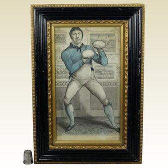 19th Century Boxing Engraving, Bare English Knuckle Pugilist John Jackson By Percy Roberts Circa 1810