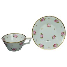 19th Century Regency Era Cup And Saucer Derby Porcelain, Pretty Roses Circa 1810