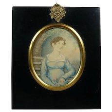 19th Century Portrait Miniature Lady Blue Dress Regency Era Circa 1815