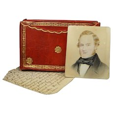 19th Century Red Leather Case & Portrait Miniature Relating to Wynne Family of Morben & East India Company etc