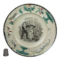 19th Century Childs Staffordshire Nursery Plate Dog Children Grandfather Transferware Circa 1840