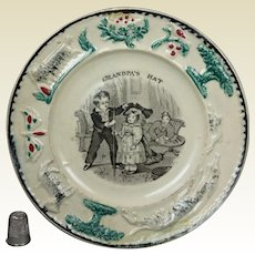 19th Century Childs Staffordshire Nursery Plate Dog Children Grandfather Transferware Circa 1840