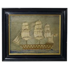 19th Century English Sailors Woolie Woolwork Needlework Sailing Ship Royal Navy Circa 1850 Folk Art